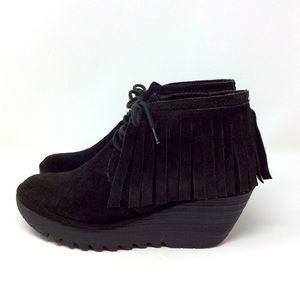 FLY LONDON Yank Suede Fringe Ankle Boots